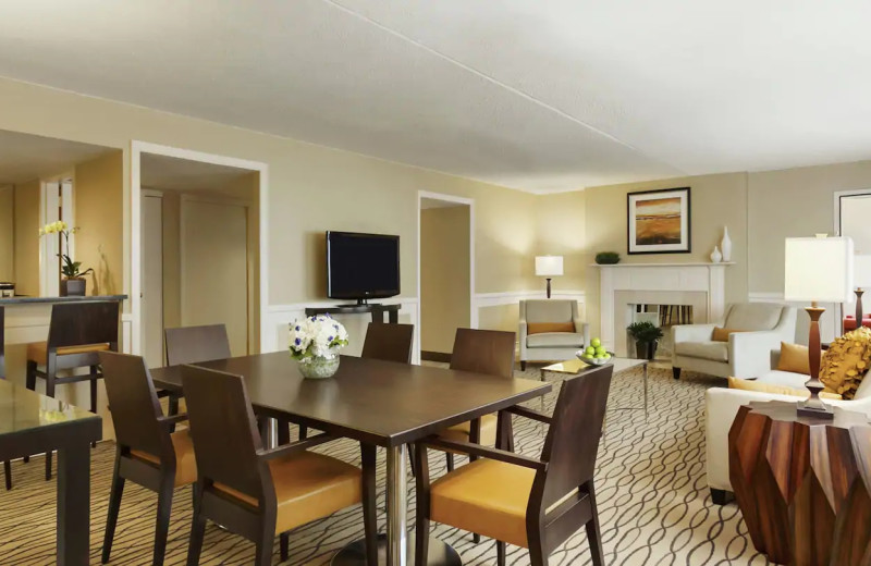 Guest room at Hilton Woodcliff Lake.