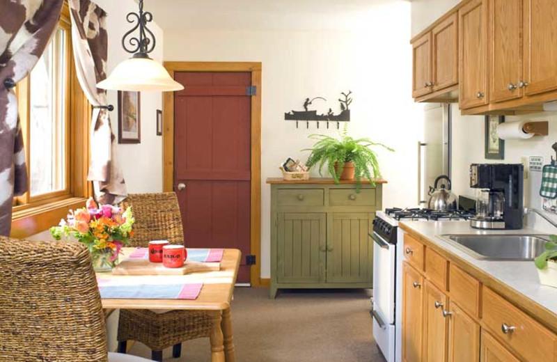 Cabin kitchen at O-Bar-O Cabins.