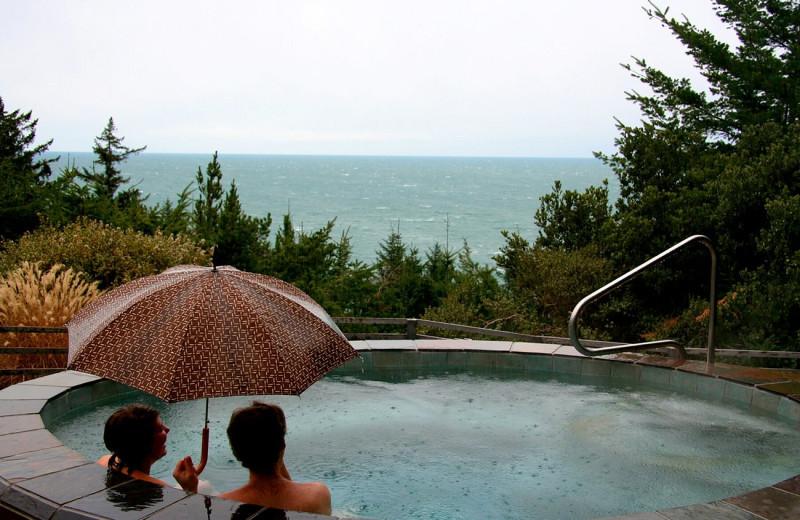 Hot tub at WildSpring Guest Habitat.