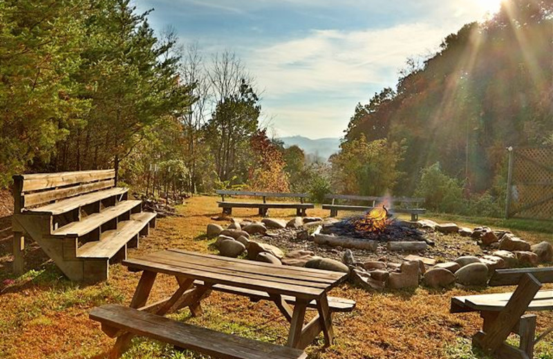 Bonfire at Smoky Mountain Resort Lodging and Conference Center.