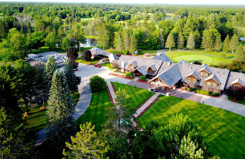 Aerial view of Garland Lodge and Resort.
