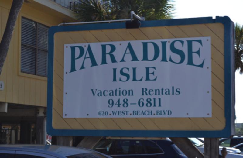 Sign at Paradise Isle Resort.