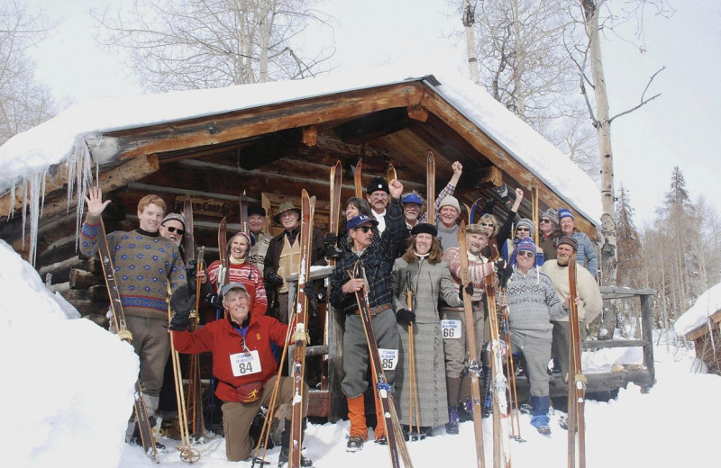 Ski group at The Cabins at Historic Columbine.