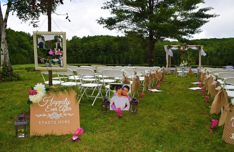 Weddings often take place on this flat grassy area with a view of the lake behind.