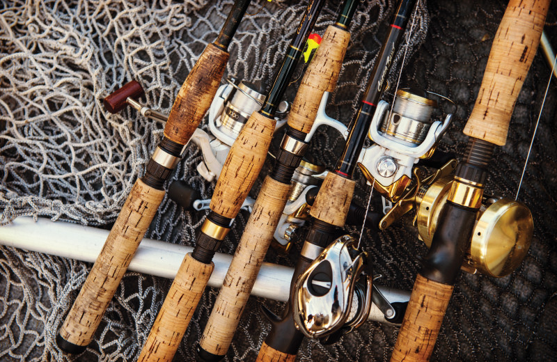Fishing poles at Tetu Island Lodge.