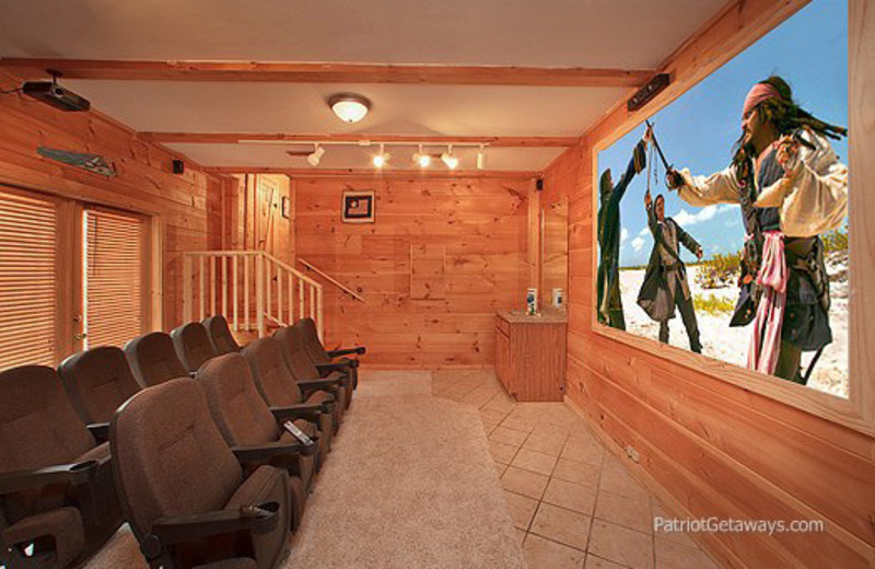 Movie theater in rental home at American Patriot Getaways, LLC.