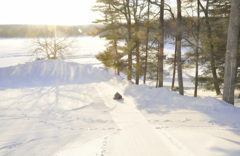 Snow tubing at Woodloch Resort.