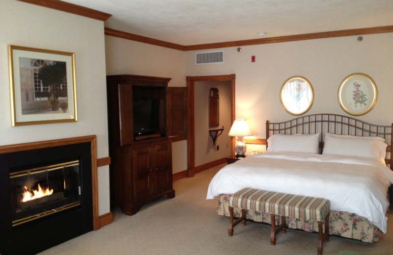 Fireplace suite at Stonehedge Inn and Spa.