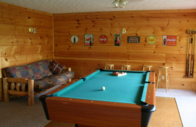 Game room at Cobbly Nob Rentals.