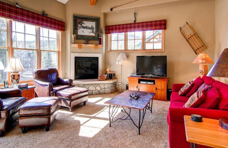 Vacation rental living room at Breckenridge Central Lodging.