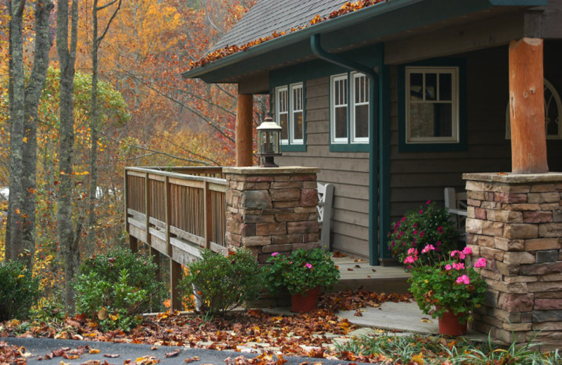 Cabin exterior at Foscoe Rentals.