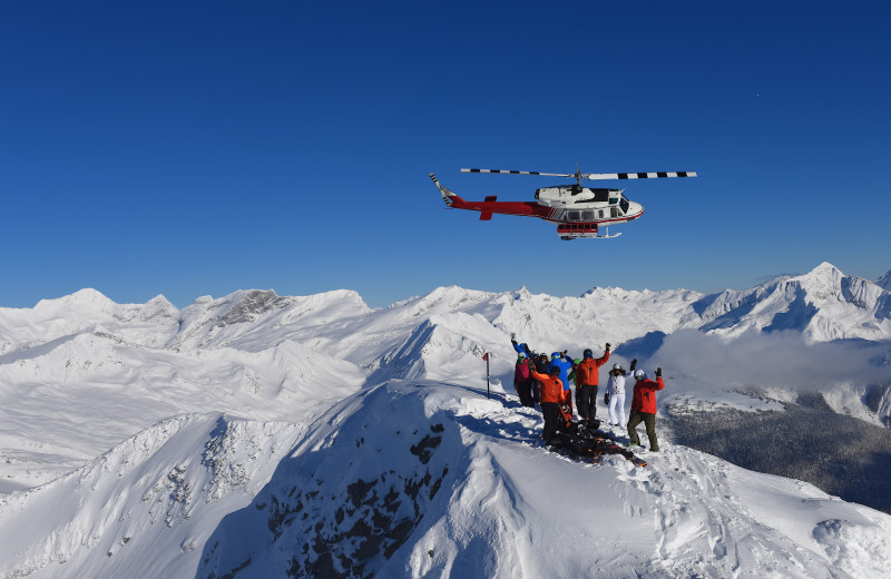 Heli skiing at Cariboos Lodge.