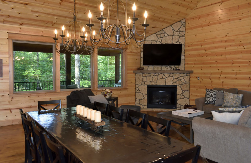 Cabin living room at White Glove Luxury Cabins.