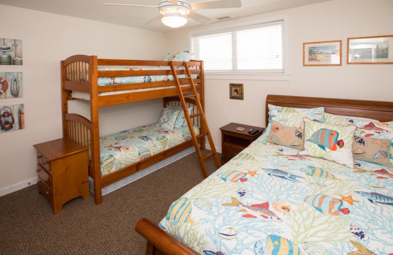 Rental bedroom at Sanctuary Vacation Rentals at Sandbridge.