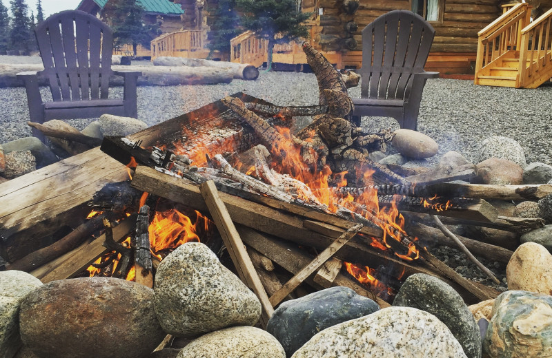 Bonfire at Alaska's Gold Creek Lodge.