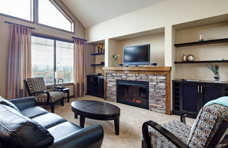 Guest living room at Bighorn Meadows Resort.