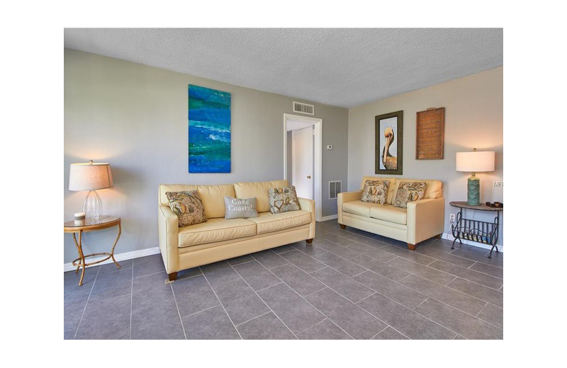 Guest living room at Gulf Winds Resort Condominiums.