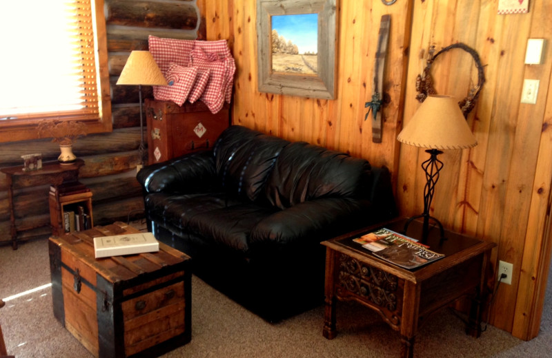 Cabin living room at Vee Bar Guest Ranch.