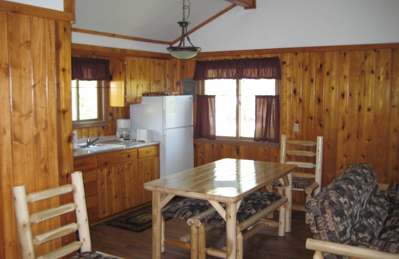 Cabin kitchen and dining room at East Silent Resort.