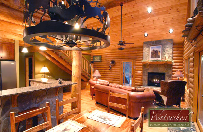 Cabin living area at Watershed Cabins.