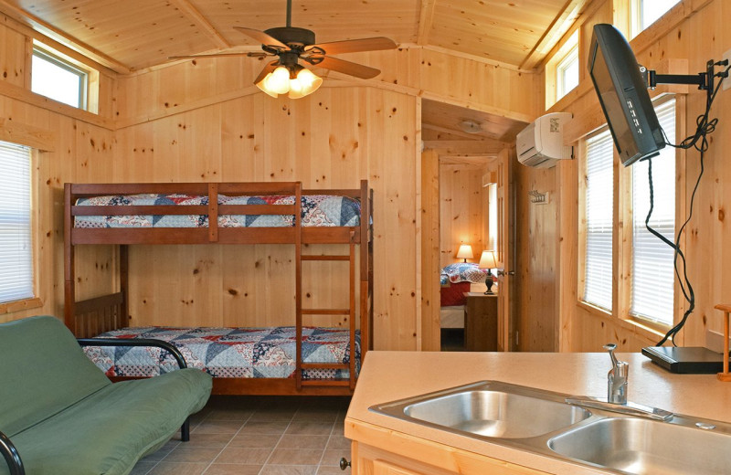 Cabin interior at Yogi Bear's Jellystone Park Quarryville.