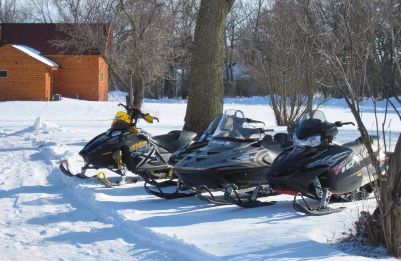 Snowmobiling at Red Cedar Lodge.