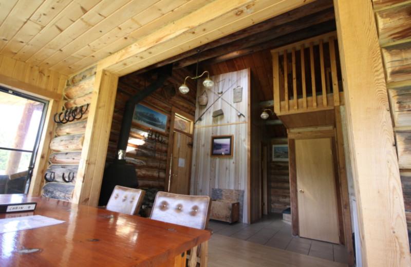 Cabin interior at Chaunigan Lake Lodge.
