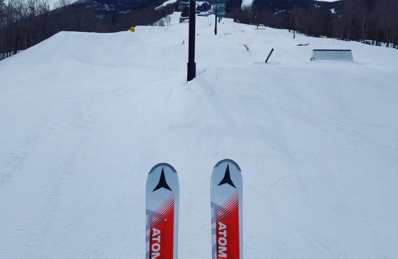 Skiing at Riverbank Motel & Cabins.