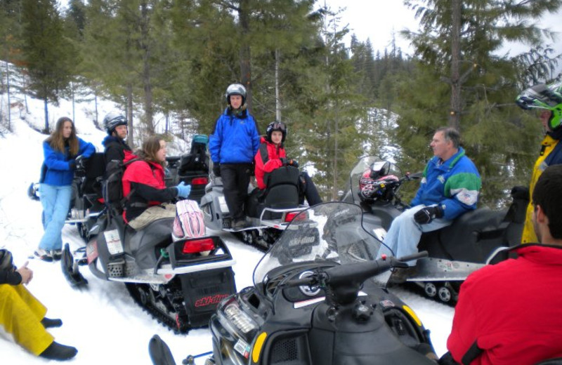 Snowmobiling at Mountain Springs Lodge.