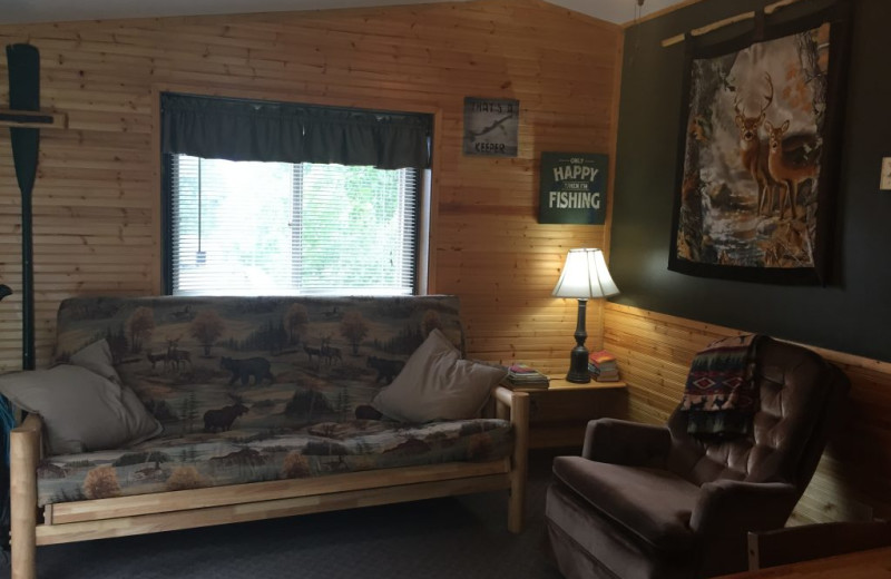 Cabin living room at Blackduck Lodge & Resort.