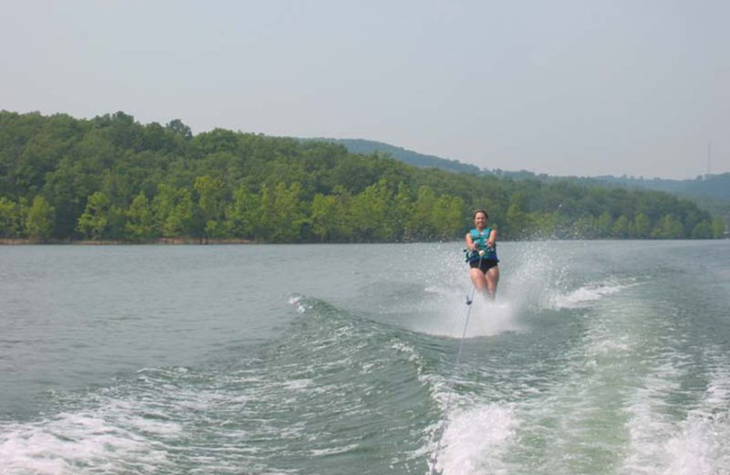 Water skiing on the lake at Golden Arrow Resort.