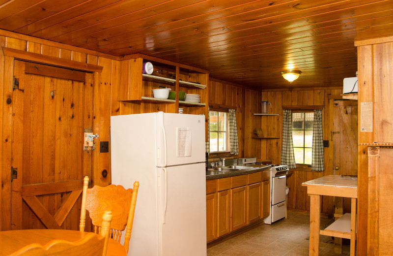 Cabin kitchen at Woodland Beach Resort.