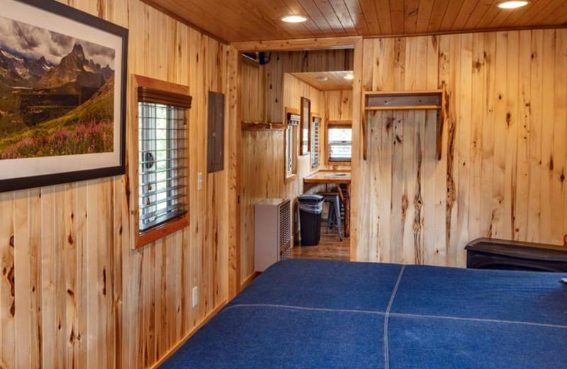 Caboose bedroom at Izaak Walton Inn.