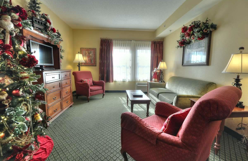 Guest living room at The Inn at Christmas Place.