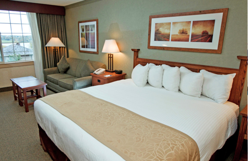 King-size bed with pullout sofa sleeper, and bathroom with shower. Rooms feature lakeside views, flat-screen television and wireless internet access.