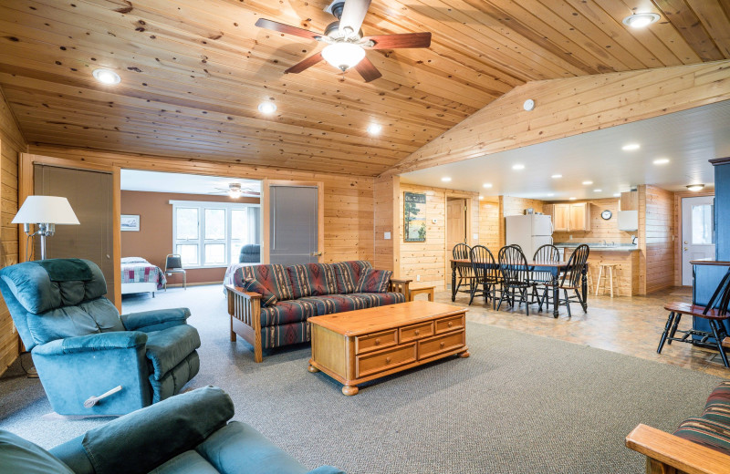 Cabin interior at Otter Tail Beach Resort.