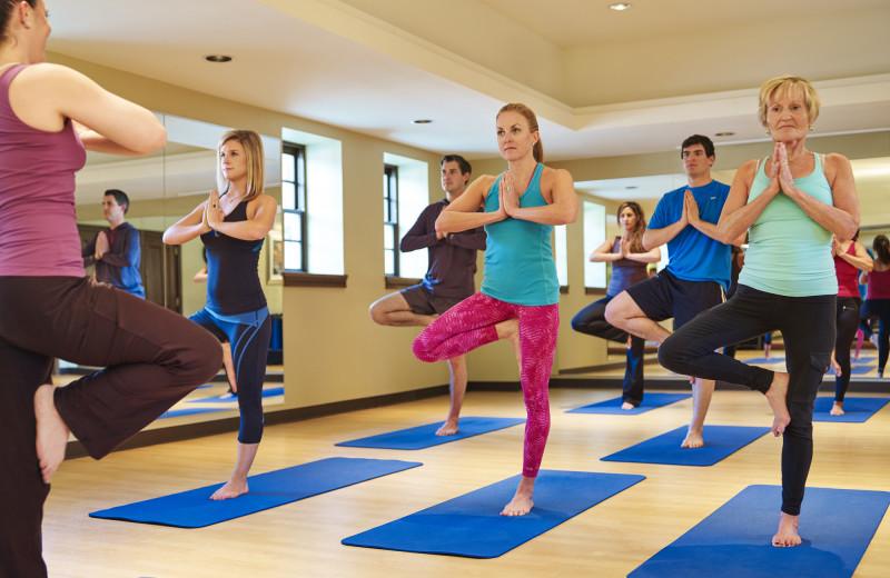 Yoga class at Glenwood Hot Springs.