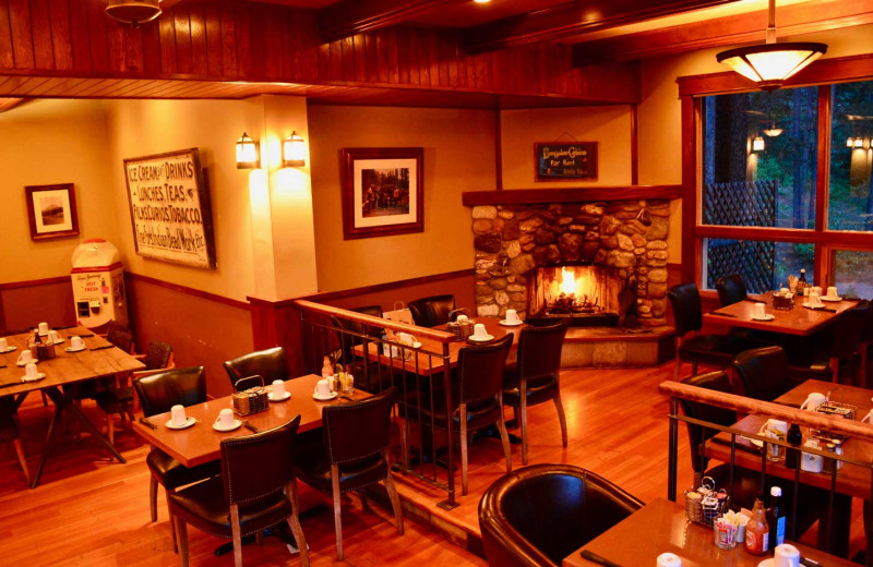 Dining at Johnston Canyon Lodge & Bungalows.