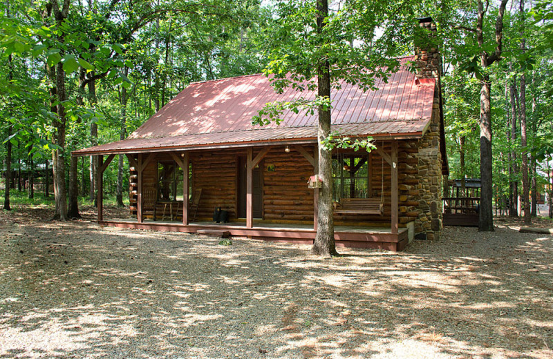 Cabin exterior at Lake Mountain Cabins.