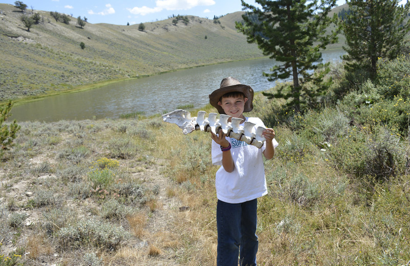 Kid finds cattle bones at Goosewing Ranch.
