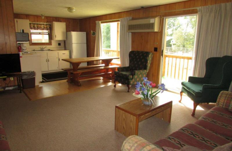 Guest room interior at The Cottage Resort & Marina Inn.