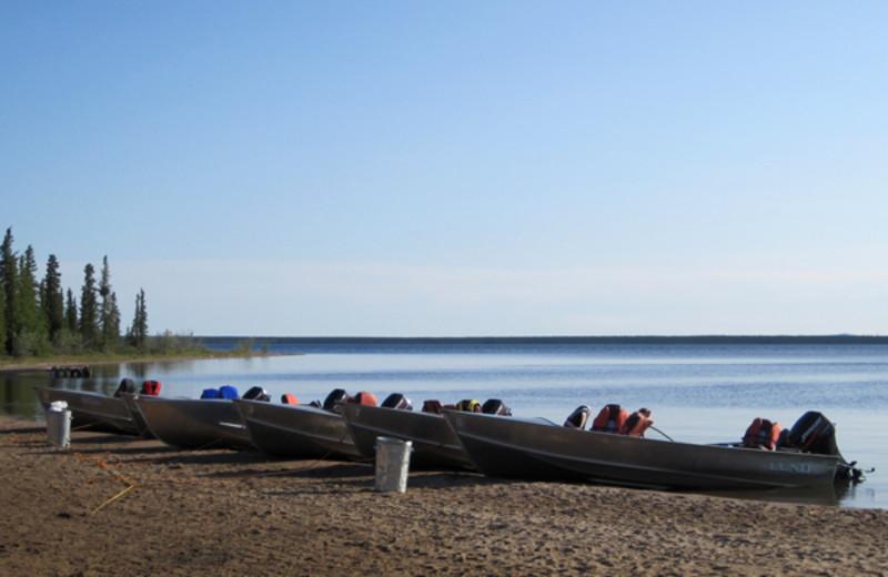 Boats at Plummer's Arctic Fishing Lodges.