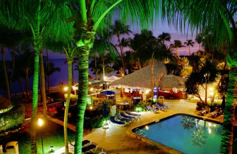 Night view of pool at Hampton Inn & Suites Islamorada.