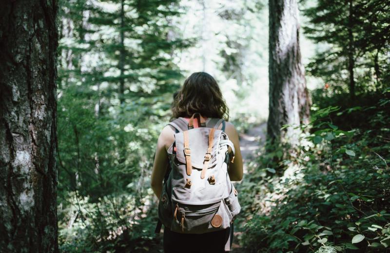 Hiking at Favorite Bay Lodge.