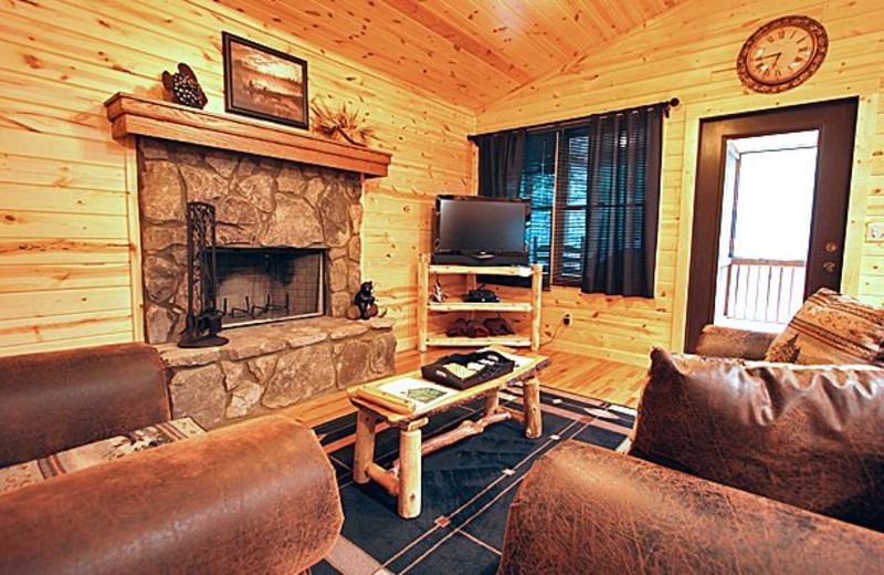 Cabin living room at Sautee Mountain Retreat.