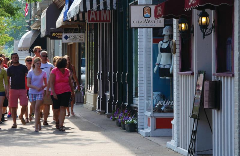 Shopping near Harbor Shores on Lake Geneva.