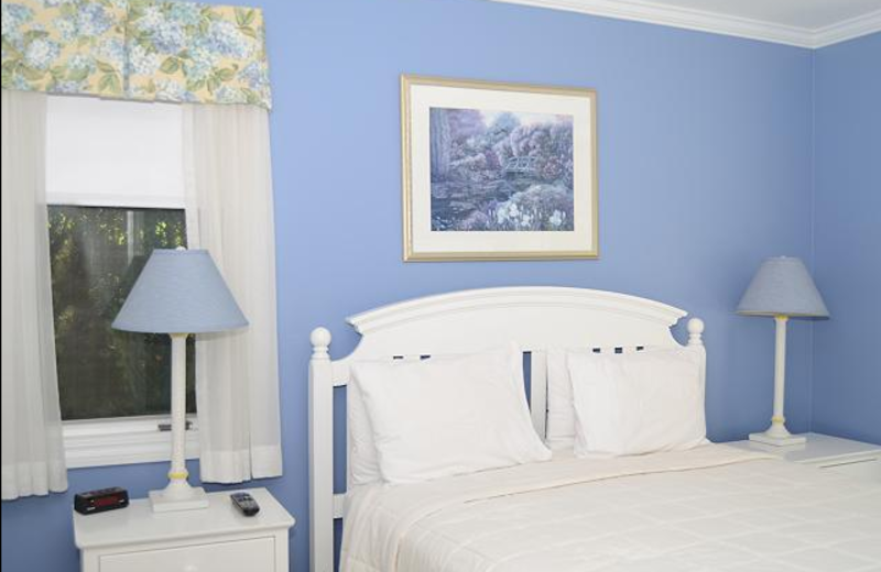 Vacation rental bedroom at The Beach Condominiums Hotel-Resort.