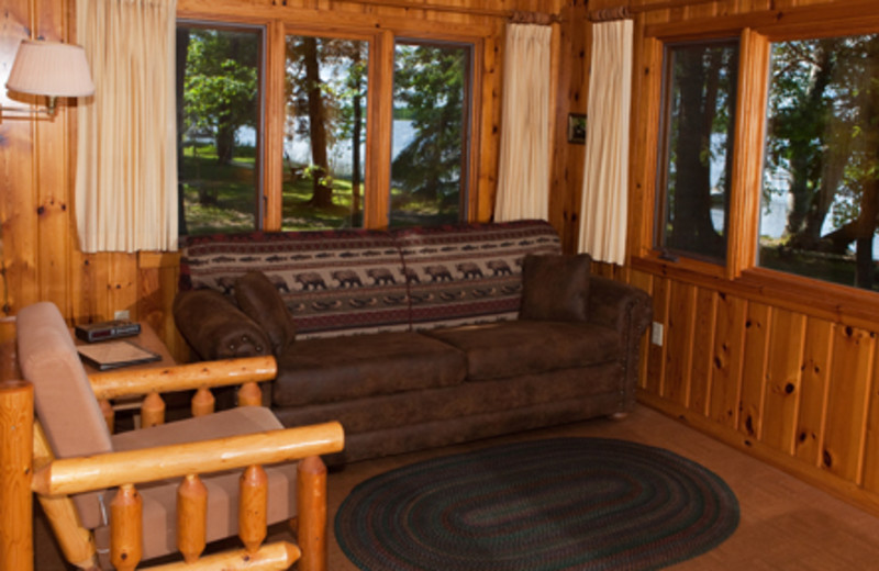 Cabin living room at Two Inlets Resort.