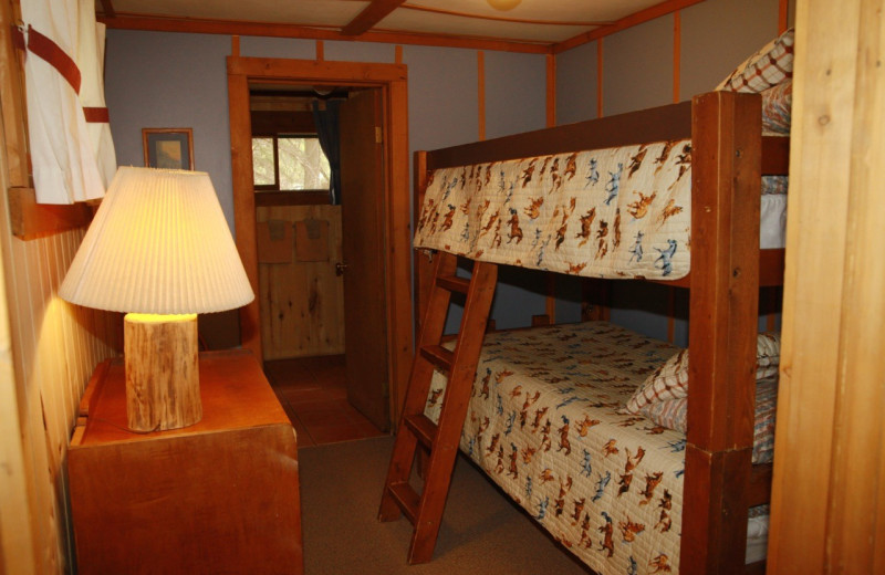 Cabin bedroom at Elk Mountain Ranch.