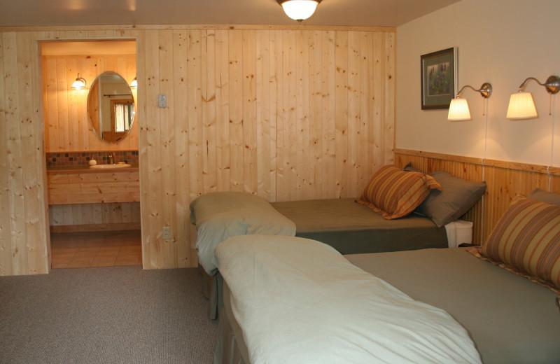 Cabin bedroom at Kenai Riverside Lodge.